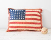 1920's Silk Ribbon American Flag Pillow - Folk Art Hand Embroidered 48 Stars