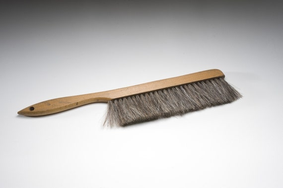 Vintage wooden horse hair brush - Natural horse hair interior upholstery brush ...