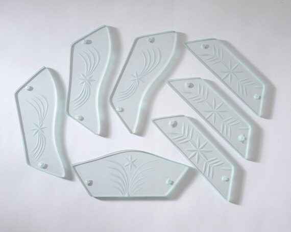 Vintage Cut Glass Decorative Panels Set of 7