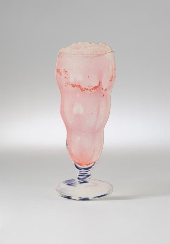 Vintage Strawberry Ice Cream Soda Luncheonette Die Cut