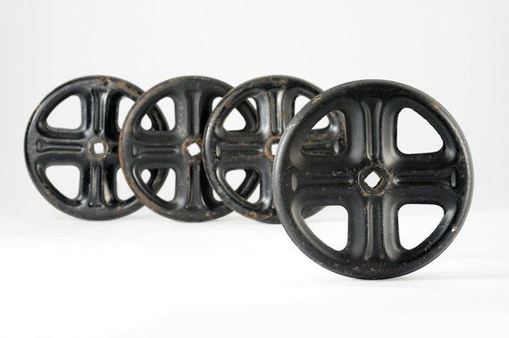 ruedas industriales metal negras vintage On comprar ruedas industriales vintage