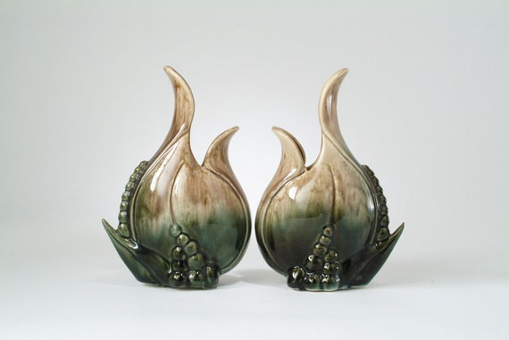 Mid Century Art Pottery Vase Pair - Modernist Glazed Abstract Leaf