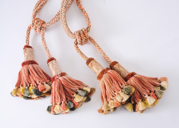 Tassel Curtain Tiebacks - Coral Potpourri Set of Two with Four Tassels