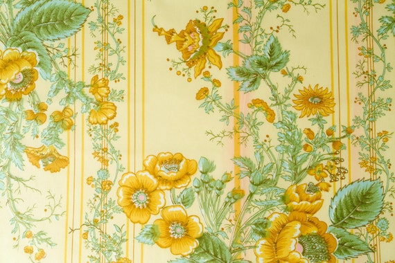 Vintage Yellow Chintz Floral Fabric Polished Cotton 2 1 3