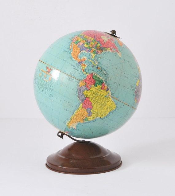 "1950's Vintage Replogle 12"" Reference Globe with metal offset base"