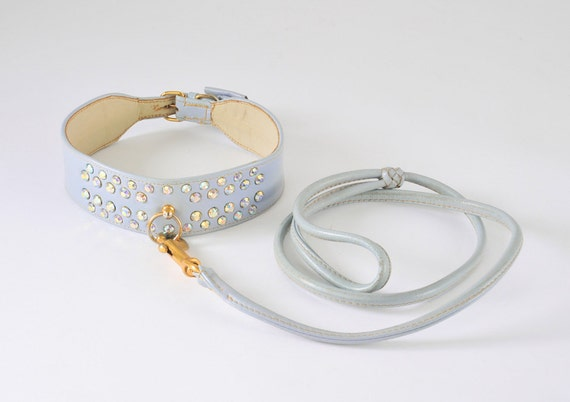 1960's Rhinestone Leather Dog Collar & Leash - Aurora Borealis Pale Blue