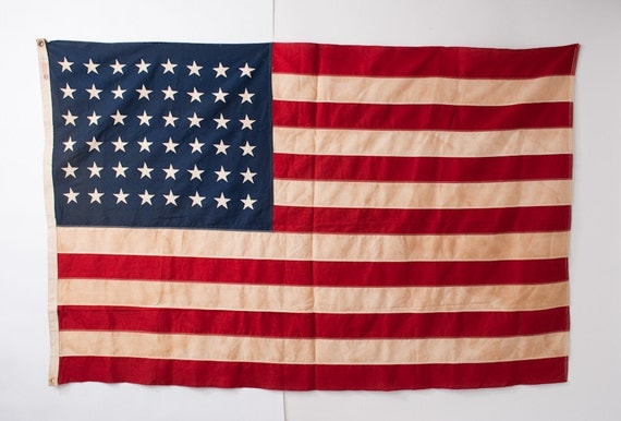 War Years American Flag - Defiance 48 Stars Stitched Cotton Bunting