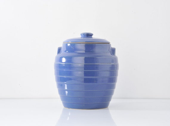 1940's Blue Cookie Jar - Fiesta Style USA Pottery