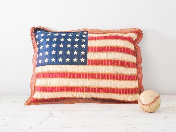 1920's Silk Ribbon American Flag Pillow - Folk Art Hand Embroidered 48 Stars