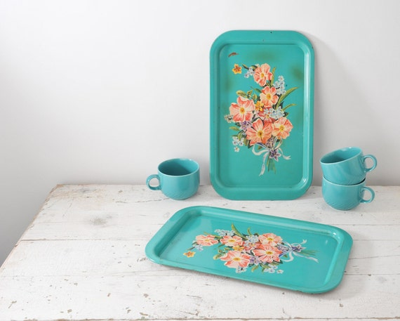 Vintage Aqua Floral Metal Trays - Set of Two Blue with Pink Roses