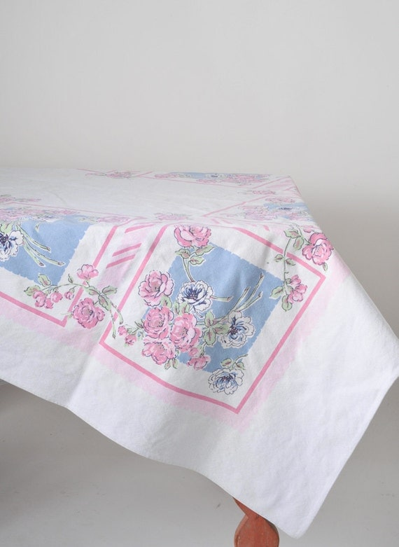 "Vintage Canvas Tablecloth: Pink & Blue Floral Pattern - 70"" x 51"" Picnic Table Size"