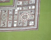 Lovely classic all silk scarf with ornate pattern in green, brown and off white