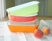 Trio of Pyrex dishes in cheerful solid colors
