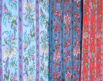 Three Liz Claiborne wingtip scarves. Blue, red, violet, ornate, floral, paisley, ornamental, fine, silk.