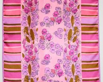 Pink Vera scarf with wildflower and stripe pattern. Floral, violet, ochre, sienna.
