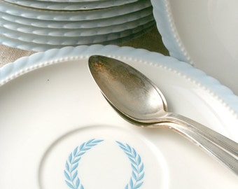 Twelve saucers in Monticello pattern by Steubenfield. Neoclassical, mid century, white, blue, wreath, fine.
