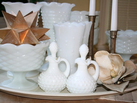 Milk glass collection. Wedding, centerpiece, mantle, vases, compote bowls, ewers, hobnail.