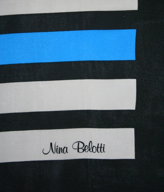 Large Nina Belotti silk scarf. Electric blue, black, gray, stripes, bold, eighties, graphic.