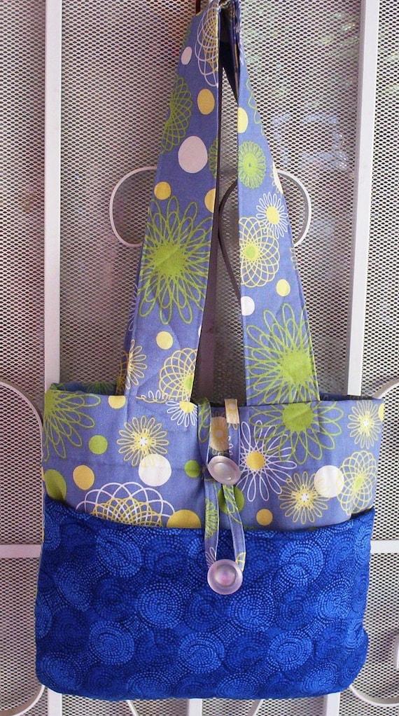 Tote Bag, Blue Fabric Handbag, Home Decor Fabric, Purse, Shoulderbag Diaperbag, Handmade bag