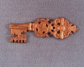 Ornate French Key Vintage Brass Stamping /Steam Punk/ Victorian / Raw Brass