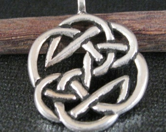 TierraCast Round Celtic / Tribal Pendant in Antiqued Silver Plate, Just add a Cord