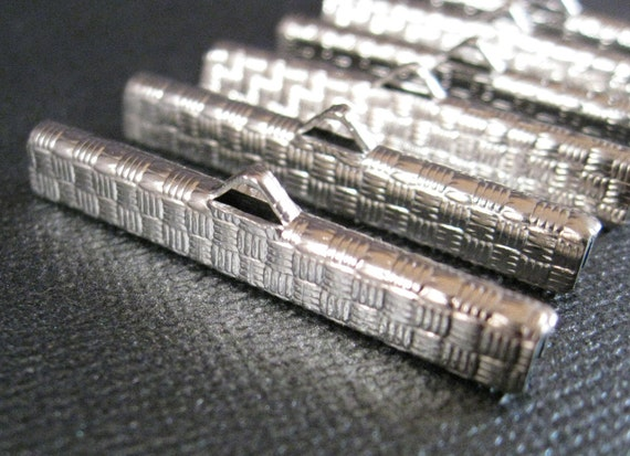 """Large Silver Tone Ribbon Crimp Ends 1.5"""" 6 pieces Wide Chokers and Bracelets / Tapestry/ Ribbon/ Leather/ Steampunk"""