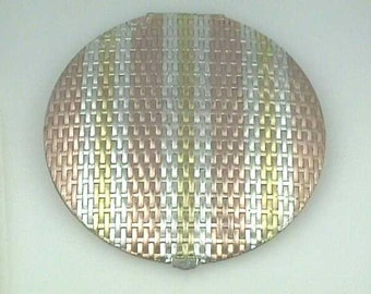 """MINT 4 3/4"""" EVANS Sterling 3 Color... Rose Gold, Yellow Gold, & Sterling Silver Vermeil...Large Art Deco Compact"""