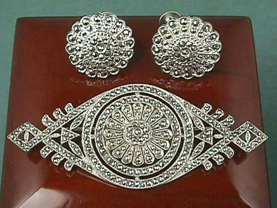 Antique Art Deco Sterling Silver Marcasite Brooch & Earrings Suite, Demi Parure, Circa 1925 - Lovely, Rare, and Mint Condition