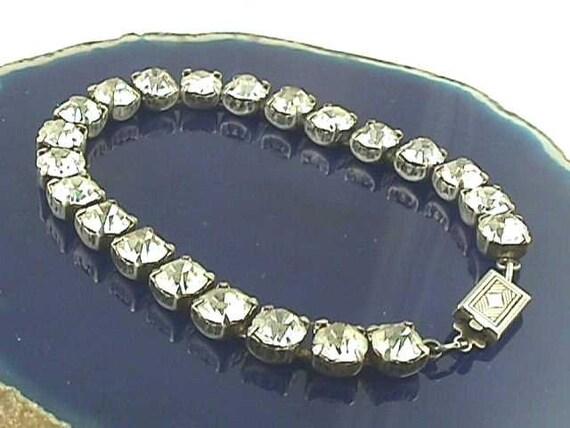 Antique Art Deco Sterling Straightline Eternity Glass Paste Bracelet...Circa 1920...Mint Condition