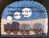 Easy Peasy Train Hat crochet pattern for boys No.109 Digital Download