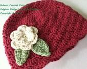 Hat Crochet Pattern - Shell Stitch Cap Crochet Pattern No.113 Baby Preemie Newborn Baby Sizes
