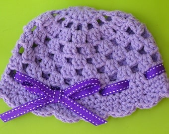 Crochet Baby Hat Pattern - Easy Peasy Ribbon and Shells Baby Hat Crochet Pattern No.204 NINE Sizes from Newborn to Adult