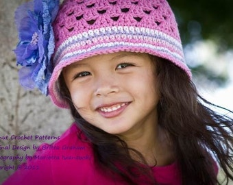 Summer Crochet Hat Pattern -  No.116 FOUR Sizes Baby Toddler Kids Girls