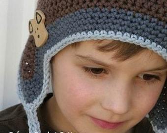 Crochet Earflap Hat Pattern - Unisex Hat Crochet Pattern No.601 Baby Toddler Kid Sizes Boys Girls