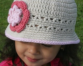 Girls Sun Hat - Crochet Hat Pattern No.106 Springtime Digital Download
