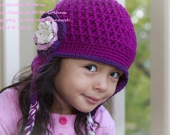Crochet Earflap Hat - Textured Earflap Crochet Hat Pattern No.602 Unisex NINE Sizes from Newborn to Adult Digital Download