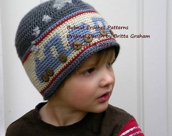 Choo Choo Train Crochet Hat Pattern No.402 FOUR Sizes DK Weight Yarn Instant Digital Download