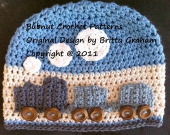 Easy Peasy Train Hat crochet pattern for boys No.109 Digital Download