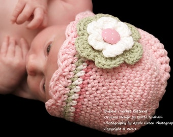 Baby Hat Crochet Pattern with Shell Trim - Crochet Hat Pattern in Preemie, Newborn, Baby and Toddler Sizes No.104 ePattern