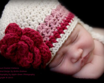 Baby Hat Pattern with eaflaps and braids in Newborn, Baby, Toddler and Kid Sizes No.603 Digital Download
