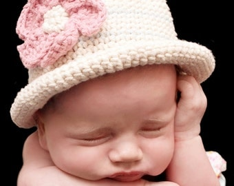 Hat Crochet Pattern - Rolled Brim Summer Hat Crochet Pattern No.119 Baby Bowler Newborn Photo Prop Beginner
