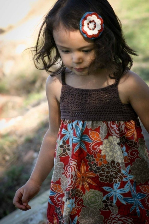 Crochet Dress Pattern - Crochet and Fabric Summer Dress Tutorial - SEVEN Sizes 1 to 7 Yrs