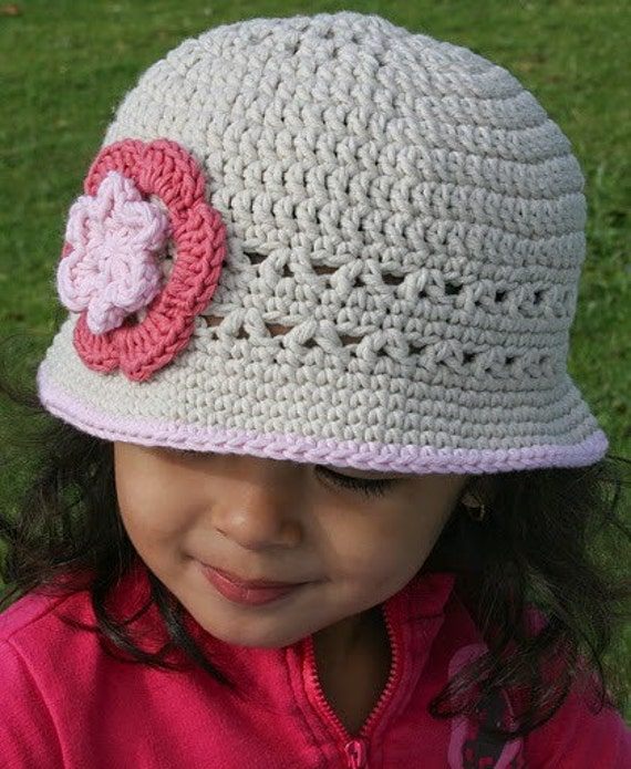 Crochet Pattern Hat Girl : Girls Sun Hat Crochet Hat Pattern No.106 Springtime Digital