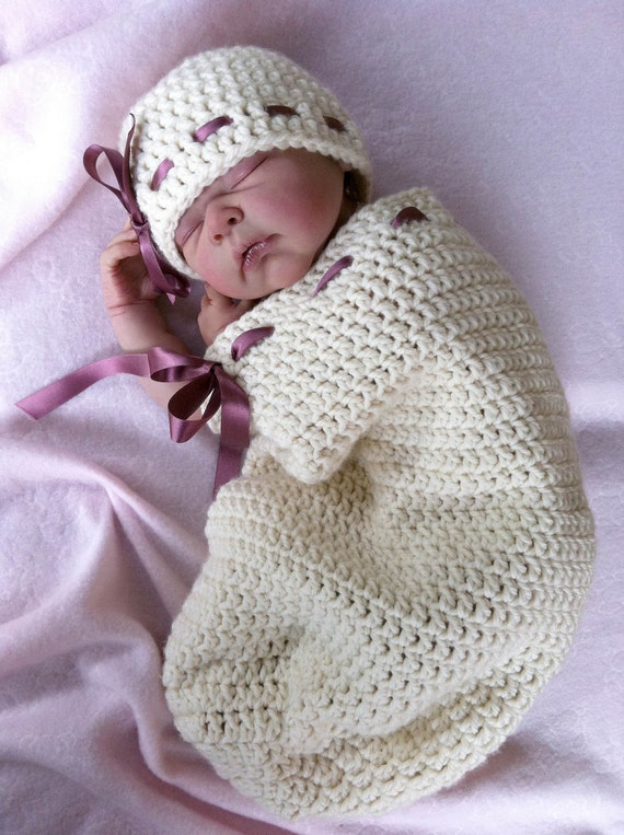 Button Up Baby Cocoon Crochet Pattern : Items similar to Cocoon Crochet Pattern & Hat - Natural ...