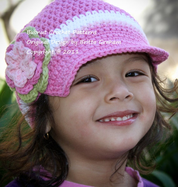 Easy Newsboy Hat Crochet Pattern No.302 Unisex TEN Sizes Newborn Baby Toddler Kid Adult
