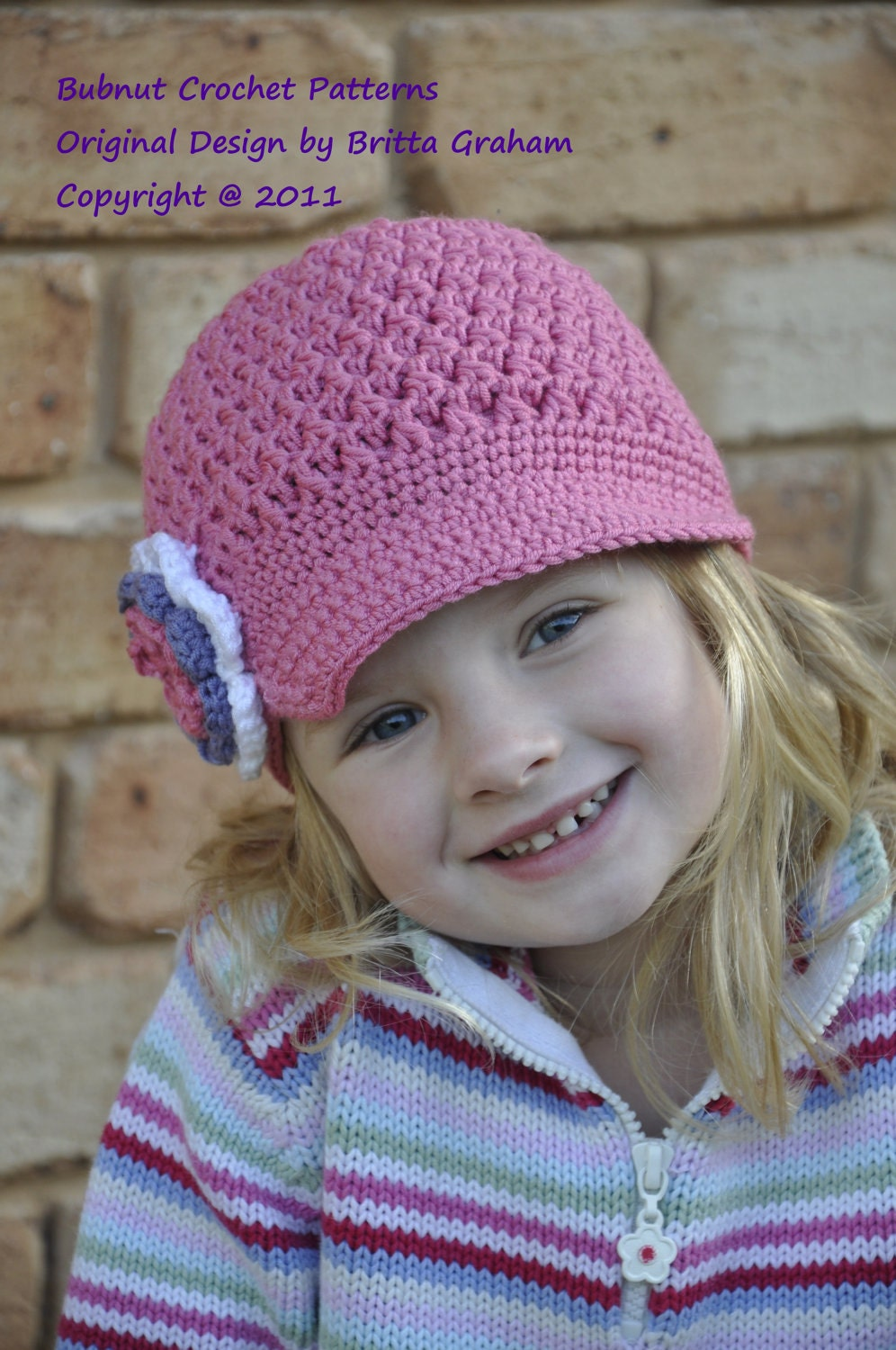 Free Baby Crochet Hat Patterns With Brim : Crochet Hat Pattern Textured Newsboy Pattern No.407 TEN