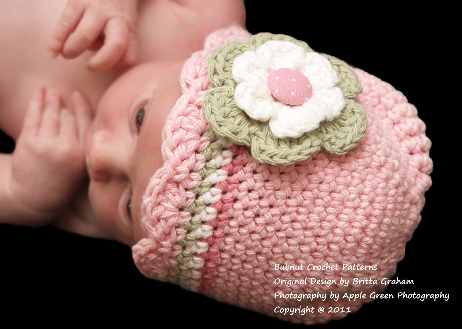 Crochet Beanie Hat Pattern For Babies : Baby Hat Crochet Pattern with Shell Trim Crochet Hat Pattern