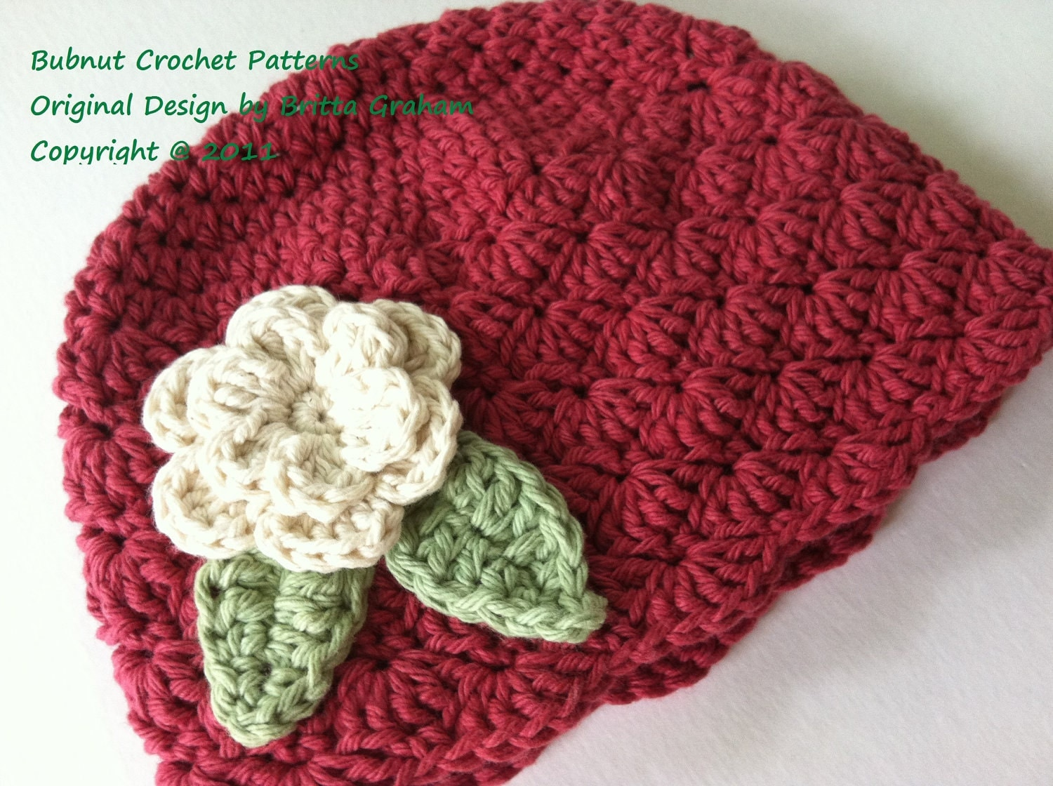 Crochet Shell Beanie Hat Pattern : Shell Stitch Cap Crochet Hat Pattern No.113 SEVEN Sizes