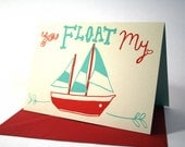 You Float My Boat valentines card