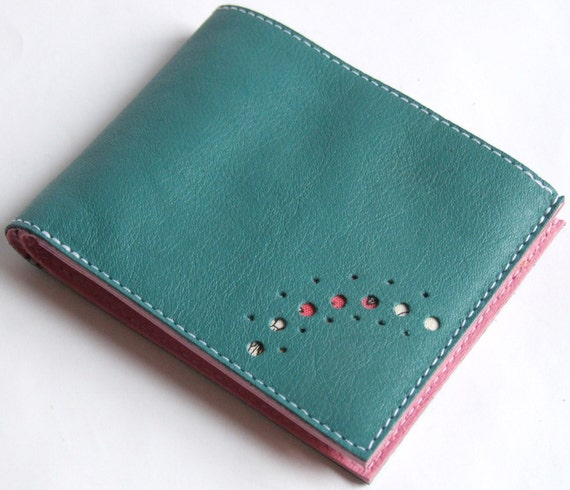 Green and pink calfskin leather purse wallet space for cards coin pocket notes
